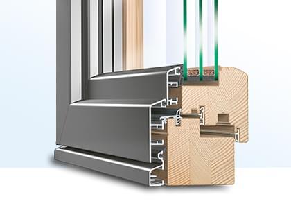 profilé d'une porte accordéon en bois-alu