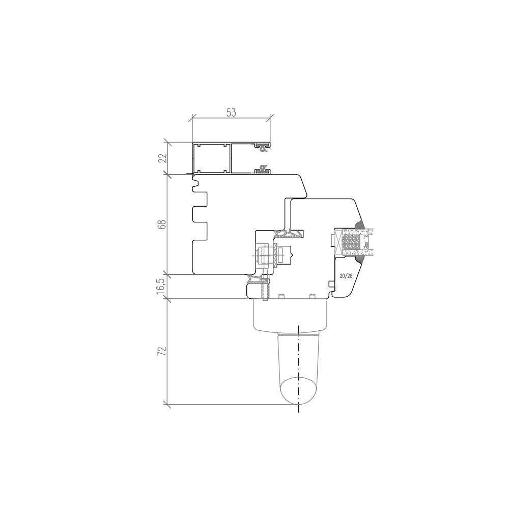 IV 68 - Baie avec rails de volet extérieur