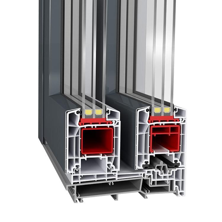Profilé de baie coulissante mixte en PVC-Alu Twinset Basic