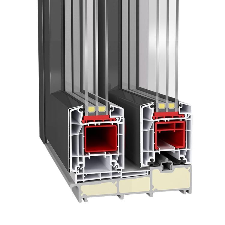 Profilé de baie coulissante en PVC-Alu Twinset Plus Premium