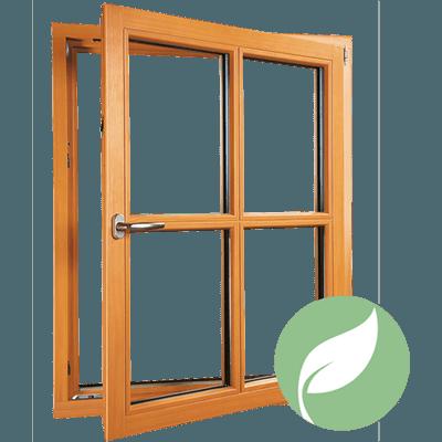 fenêtre en bois donatrice d'énergie solaire