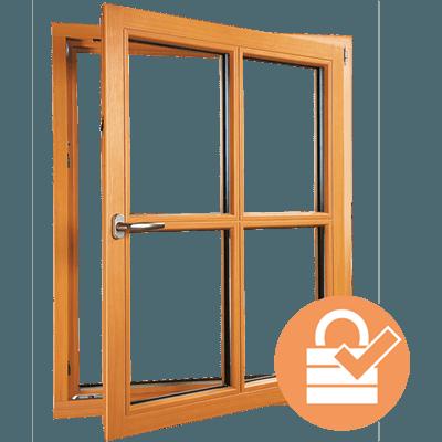 Fenêtre en bois sécurisée