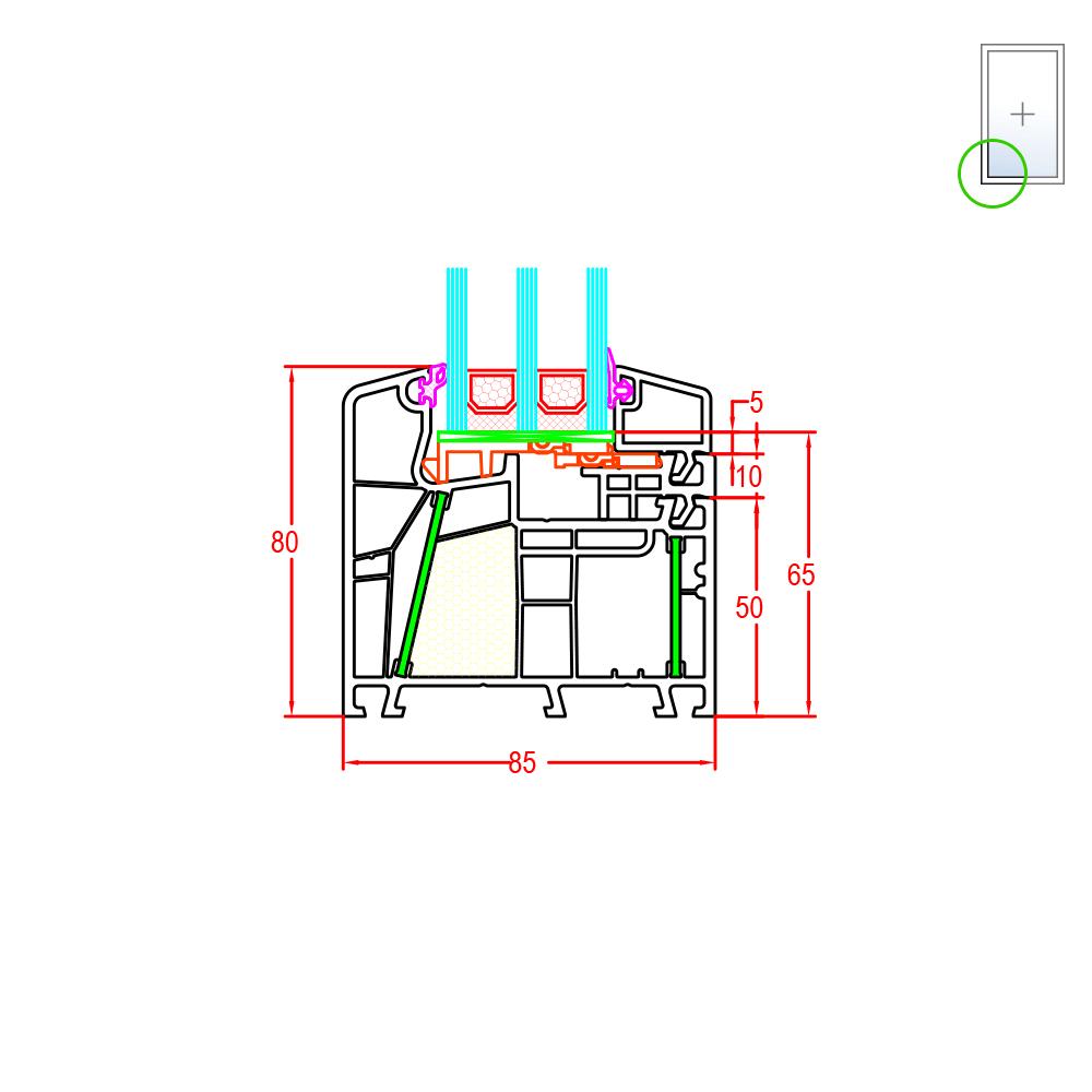 D tails de la fen tre pvc energeto 8000 for Vitre fixe double vitrage
