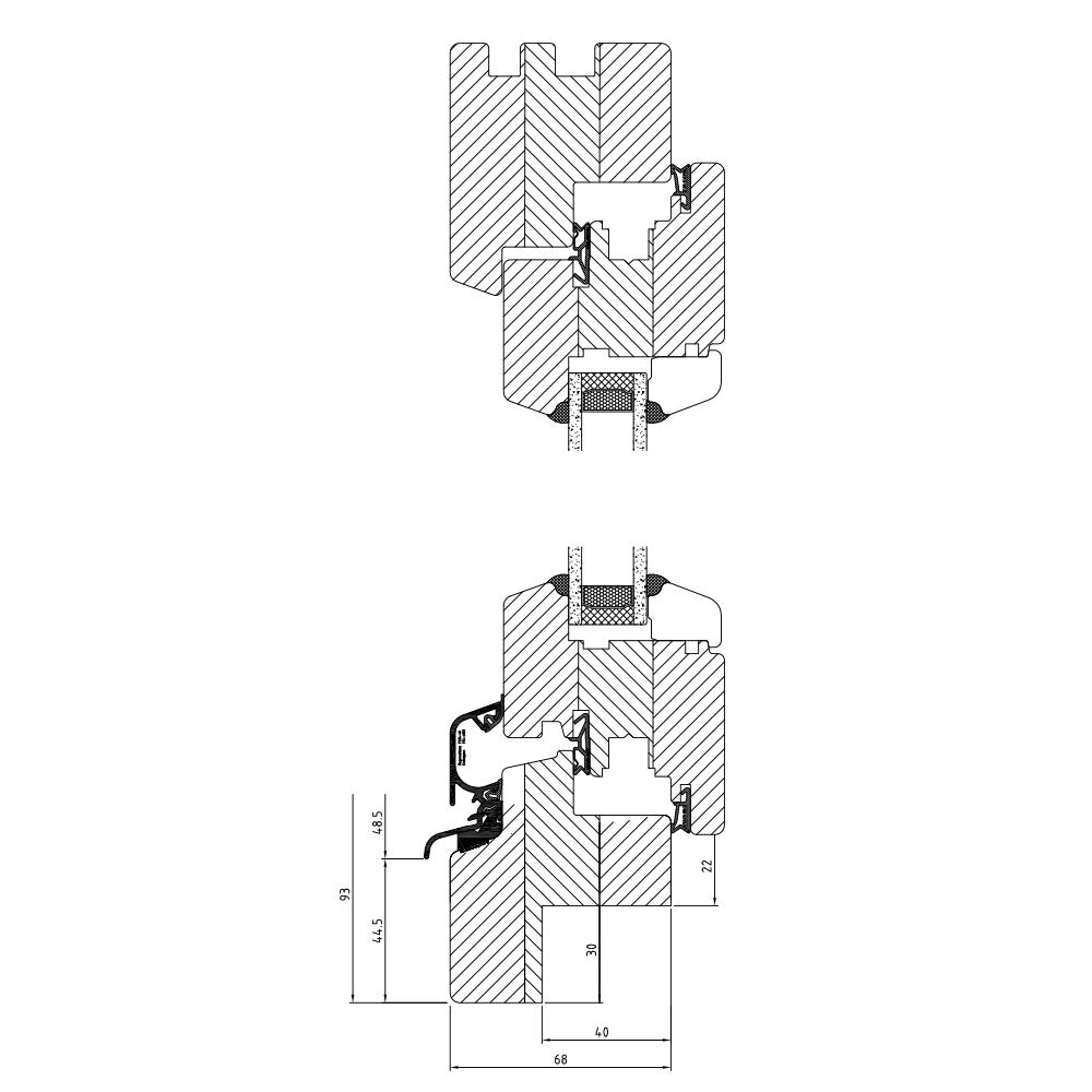 Profilé Bois Classic IV68 Fraisage de 30mm (ancien bâtiment)