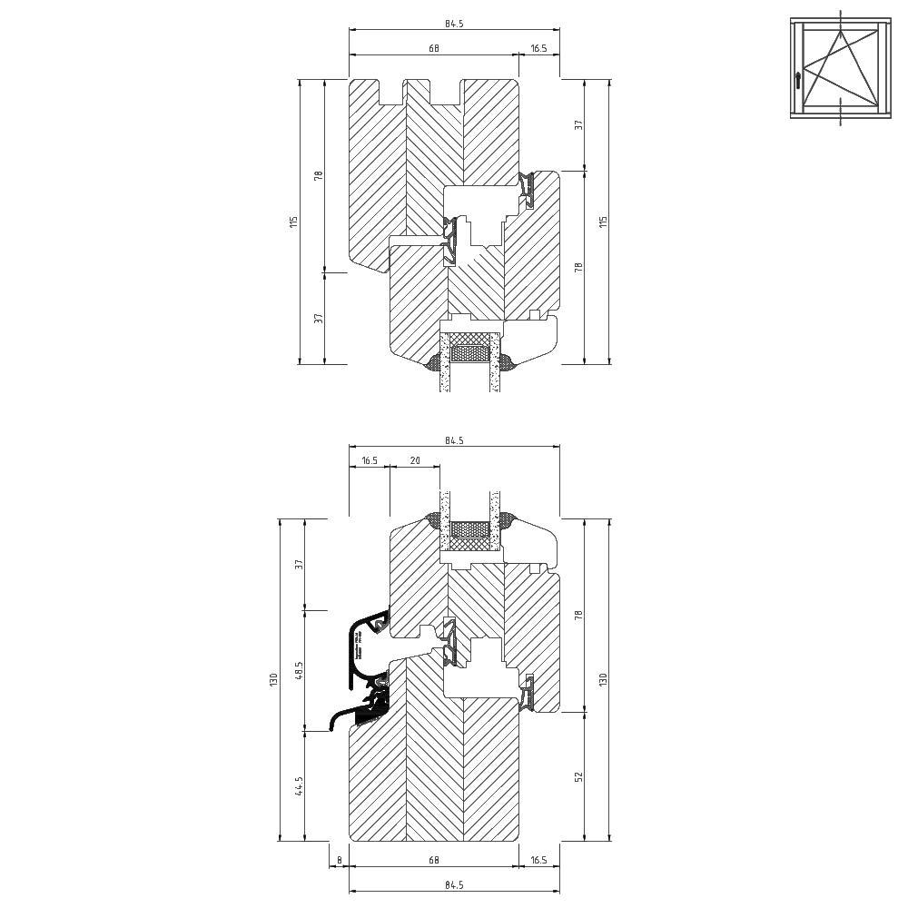 Profilé Bois Classic IV68 Section transversale