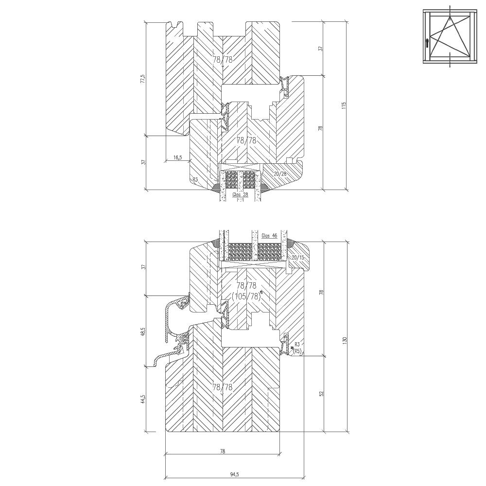 Profilé Bois Classic IV78 Section transversale