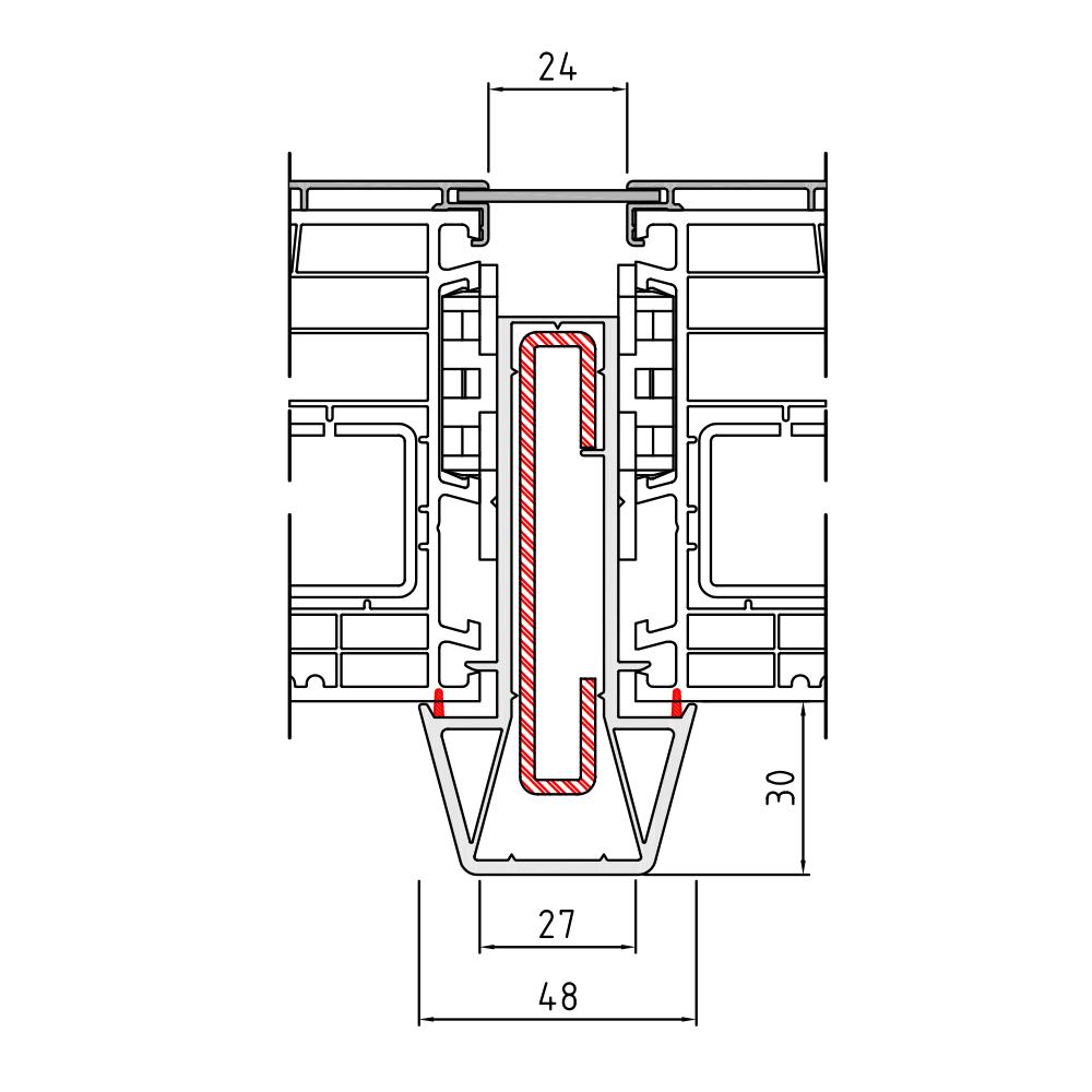 Couplage statique 1 Twinset 90 mm pour fenêtre mixte PVC-Alu
