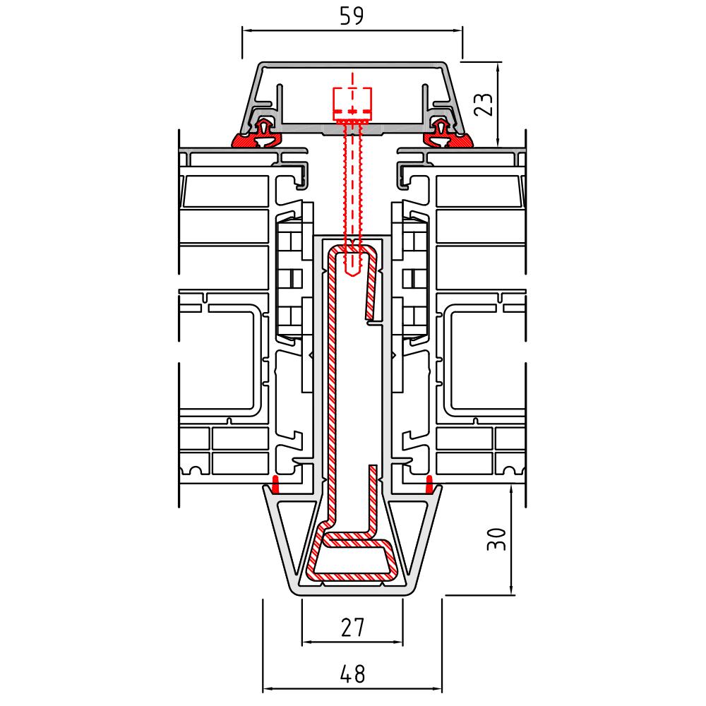 Couplage statique 2 Twinset 90 mm pour fenêtre mixte PVC-Alu