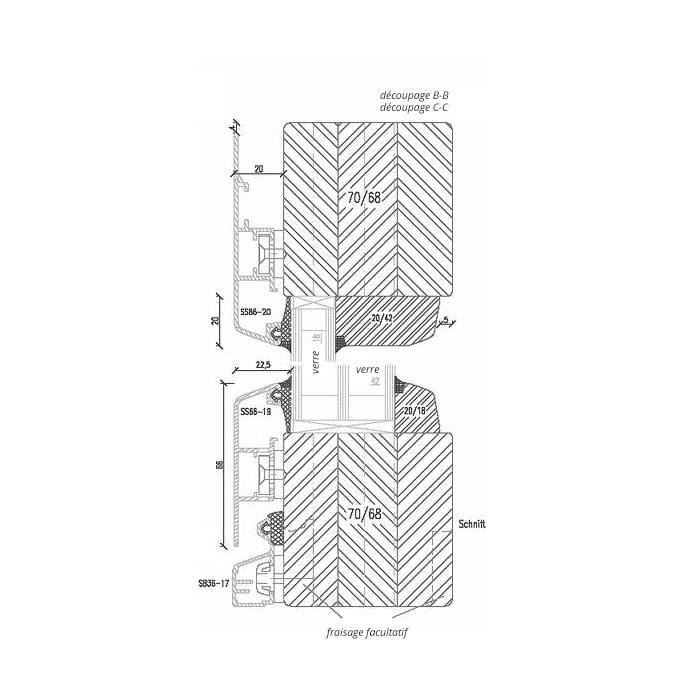 Fenêtre en Bois-Aluminium Détail Vitrage fixe - oscillo-battant