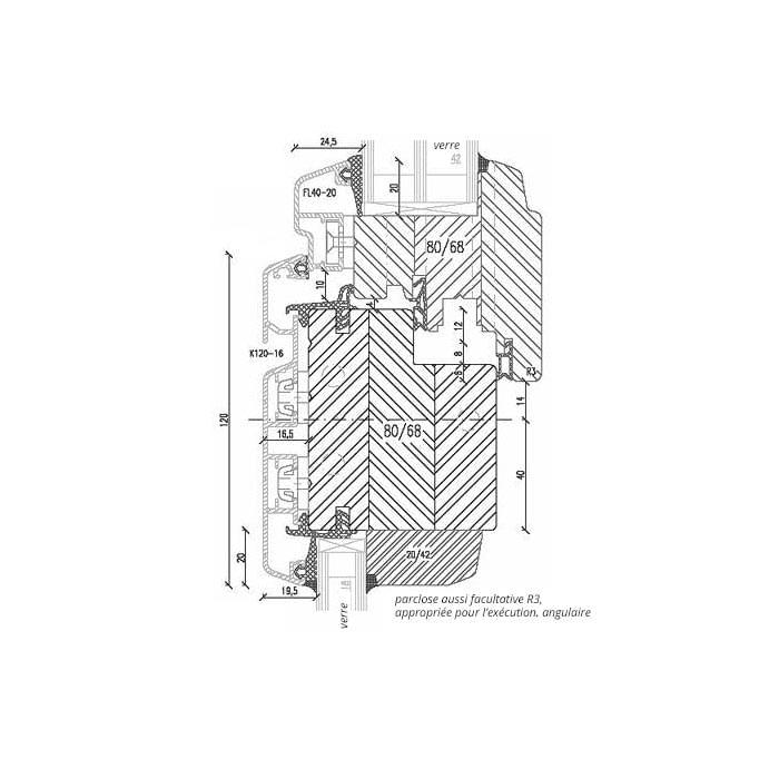 Fenêtre en Bois-Aluminium oscillo-battant avec Imposte inférieur fixe