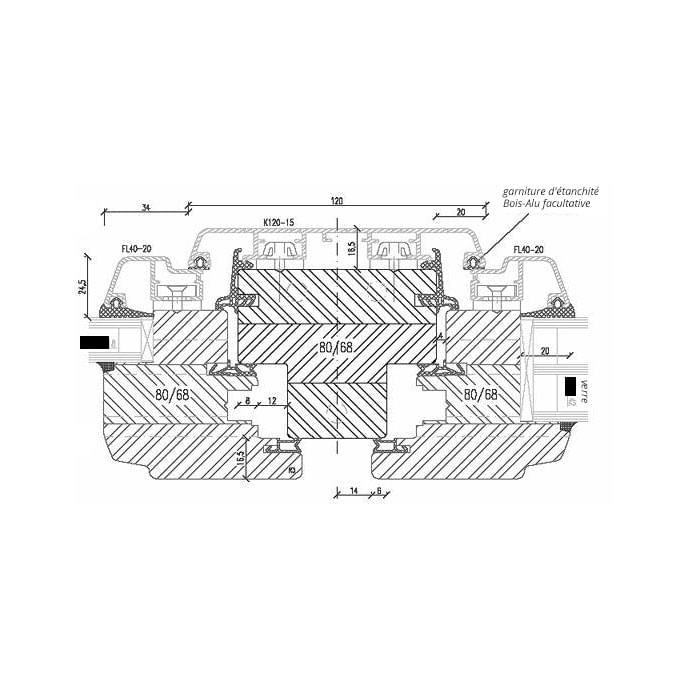 Croquis de la fen tre bois aluminium menuiserie mixte for Modifier une fenetre en oscillo battant
