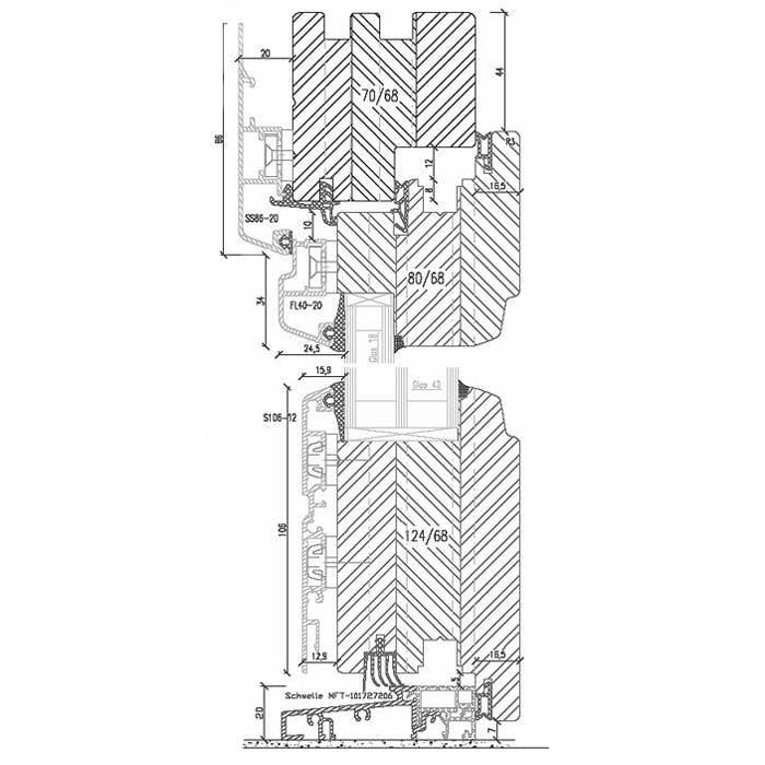 Porte-Fenêtre Bois-Alu avec Seuil en Aluminium