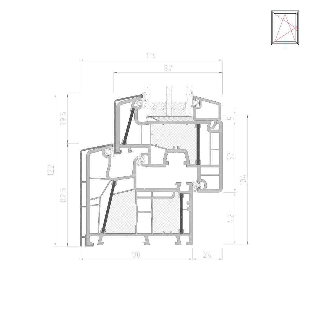 Twinset 8000ED cadre et vantail partie inférieure pour fenêtre mixte PVC-Alu