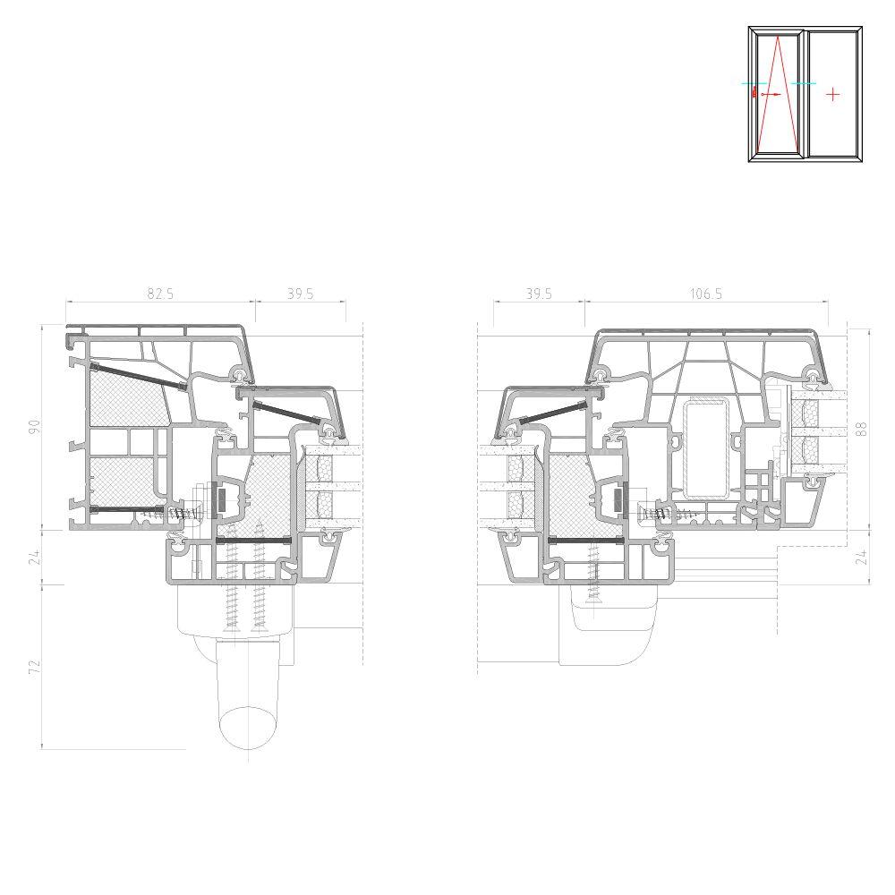 Twinset 8000ED coupe Porte oscillo-coulissante