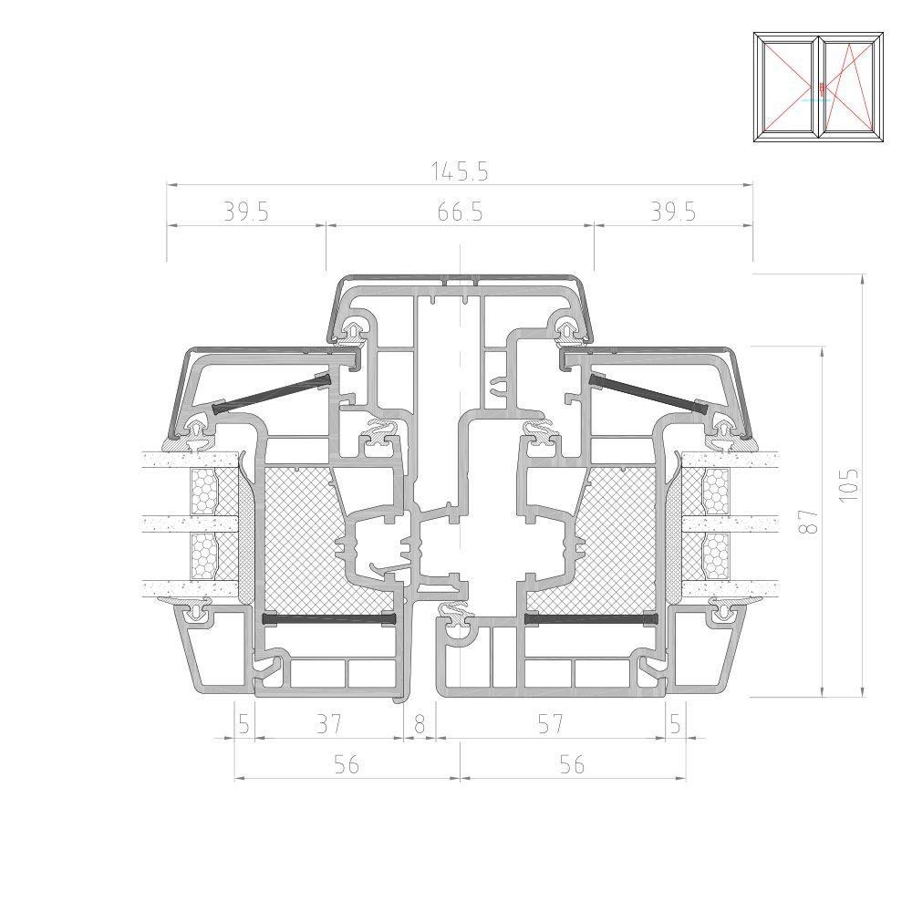 Twinset 8000ED pour fenêtre mixte PVC-Alu détail têtière
