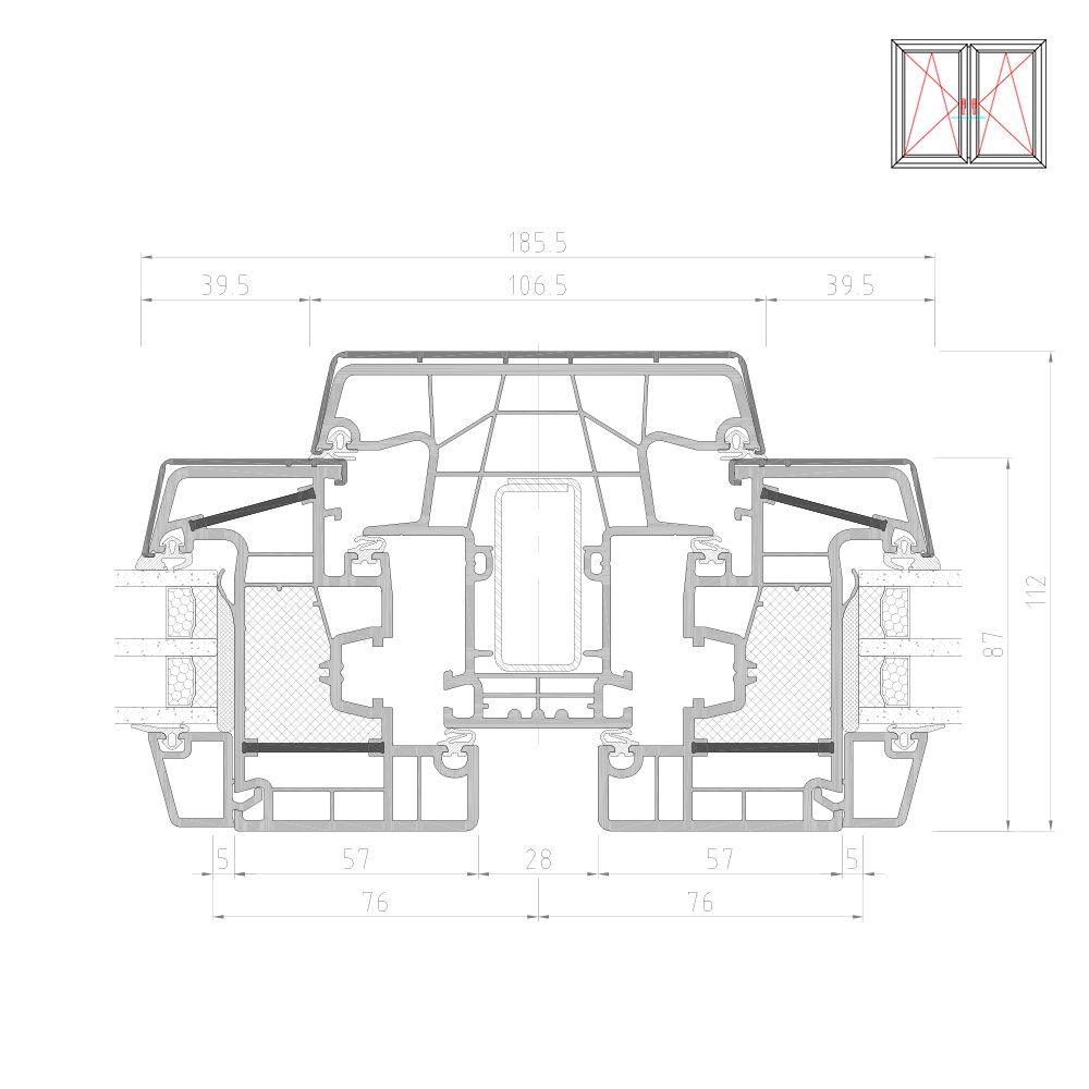 Twinset 8000ED poteau avec vantail pour fenêtre mixte PVC-Alu