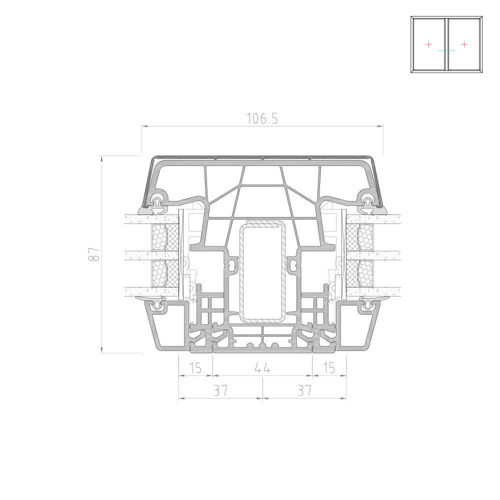 Twinset 8000ED poteau vitrage fixe pour fenêtre mixte PVC-Alu