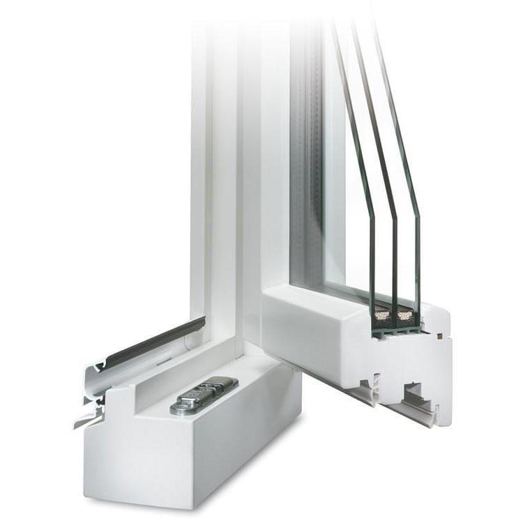 Coin de Profilé d'une Fenêtre en Bois CLASSIC 78 en blanc avec renvoi d'eau blanc