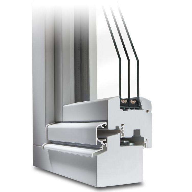 Section transversale d'une Fenêtre en Bois CLASSIC 78 en blanc (avec renvoi d'eau)