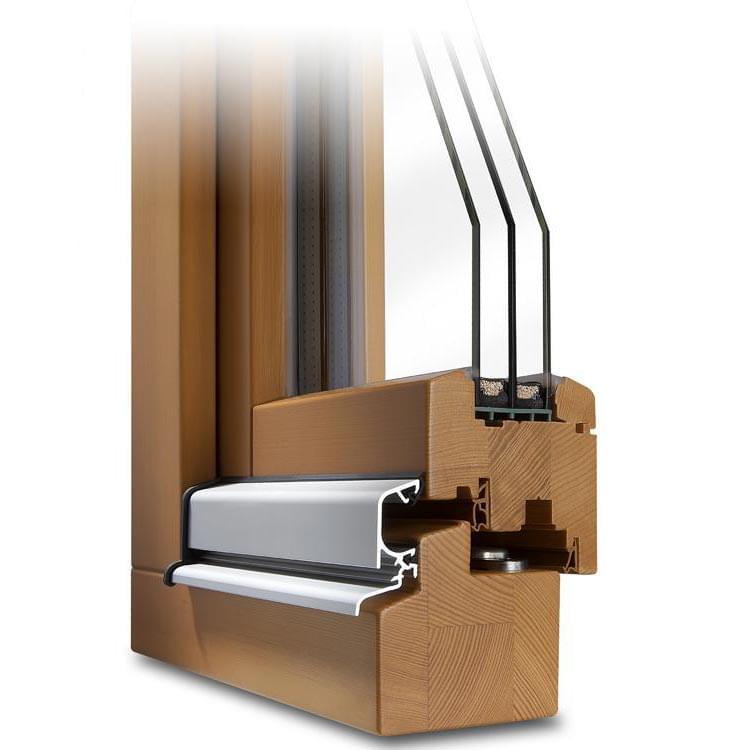 Profilé Bois Classic 78 Sapin (pour triple vitrage) avec protection anti-pluie