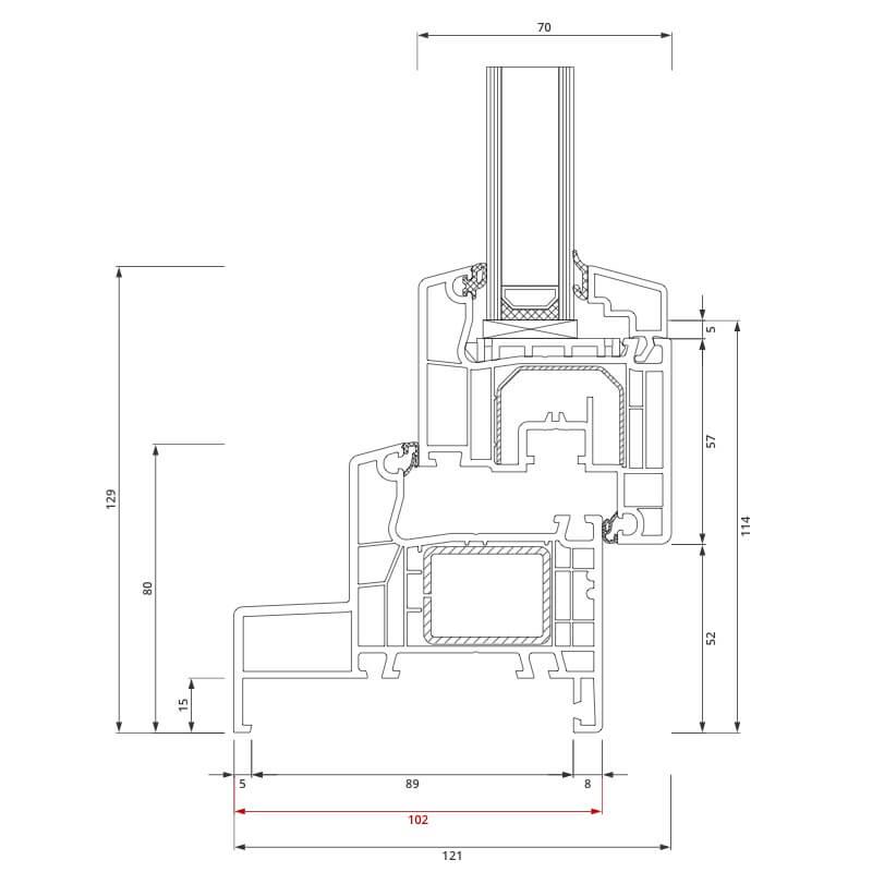 Section du profilé PVC aluplast IDEAL® 4000 Monobloc 102x80 mm