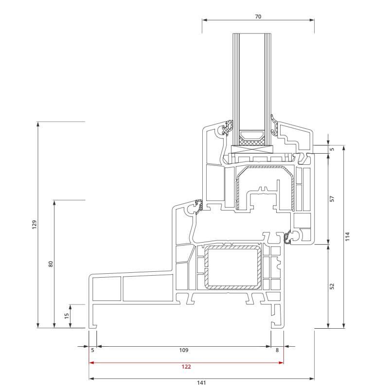 Section du profilé PVC aluplast IDEAL® 4000 Monobloc 122x80 mm