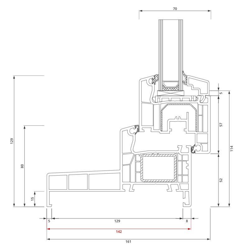 Section du profilé PVC aluplast IDEAL 4000® Monobloc 142x80 mm