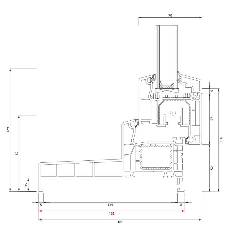 Section du profilé PVC aluplast IDEAL® 4000 Monobloc 162x80 mm