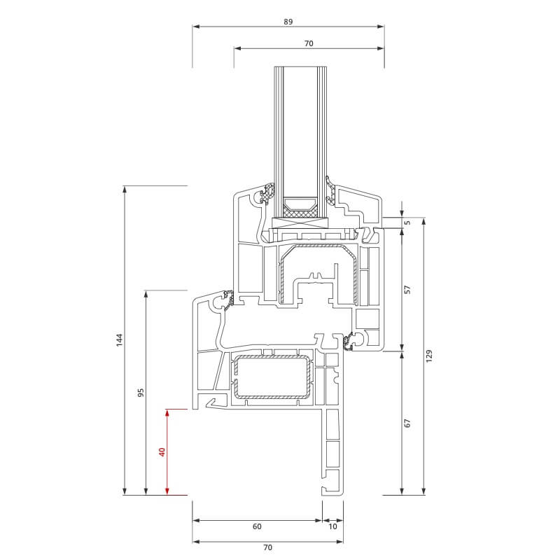 Section du Profilé de Rénovation IDEAL 4000® 40x80 mm