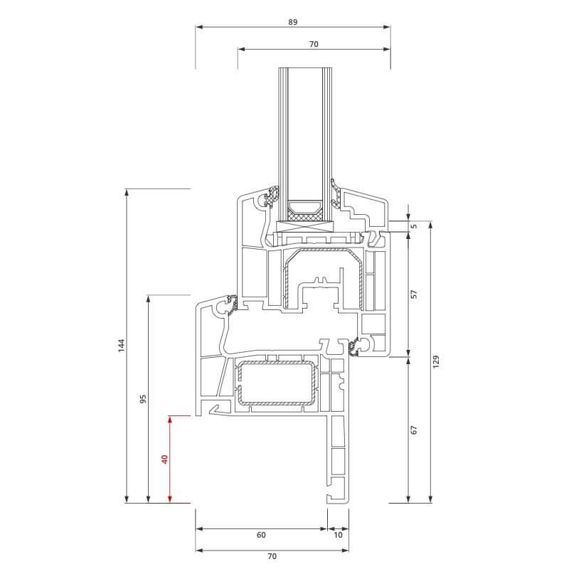 Section du profilé PVC aluplast IDEAL® 4000 Rénovation 40x80 mm