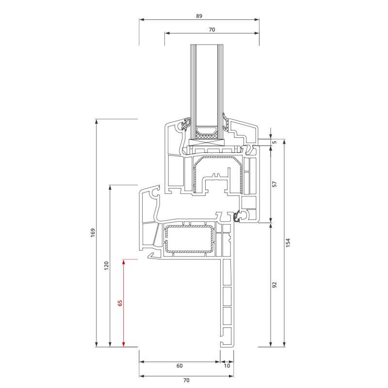 Section du profilé PVC aluplast IDEAL® 4000 Rénovation 65x80 mm