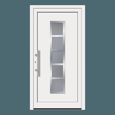 Porte d'entrée blanc en pvc, bois ou aluminium