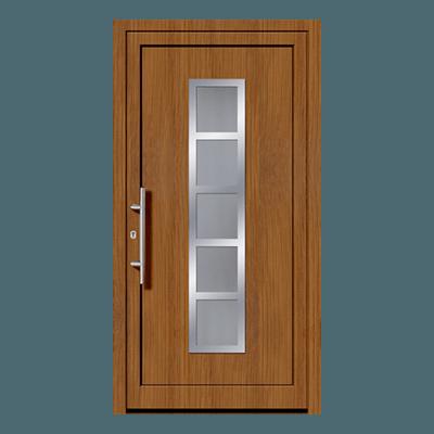 Porte d'entrée chêne en pvc, bois ou aluminium