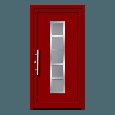 Porte d'entrée rouge en pvc, bois ou aluminium