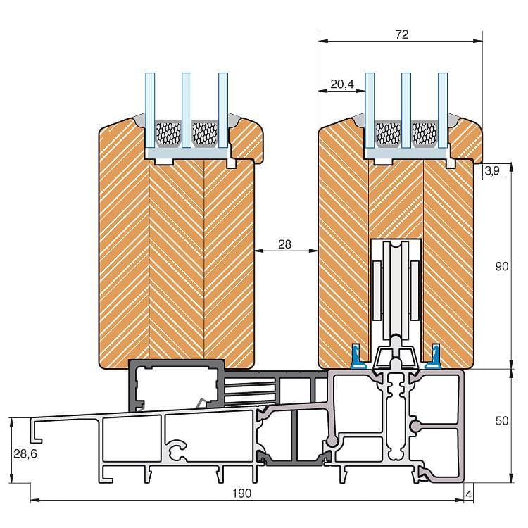 Porte fen tre bois alu for Baie coulissante alu dimension standard