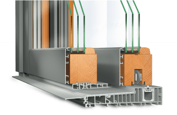 Baie soulevante-coulissante en Bois-Aluminium IDEALU IV 68