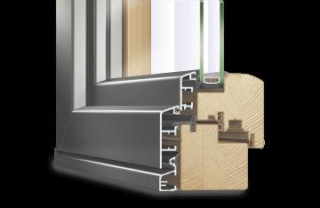 Profilé IDEALU IV 68 en bois-alu pour baie accordeon