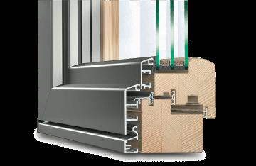 Profilé IDEALU IV 78 en bois-alu pour baie accordeon