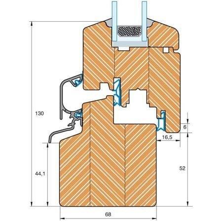 Section du profilé bois Classique IV 68