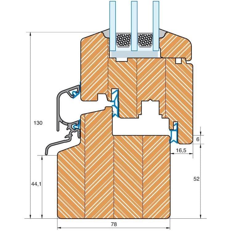 Section du profilé bois Classique IV 78