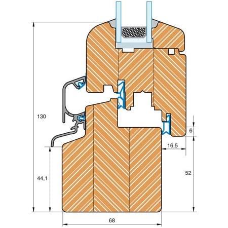 Section du profilé bois Roundline IV 68