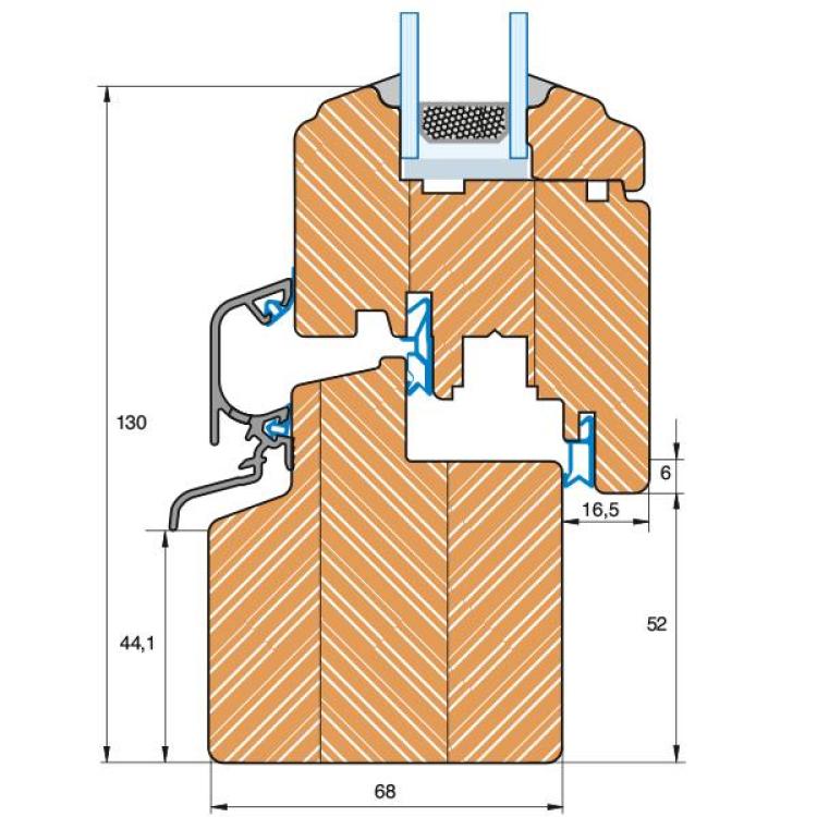 Section du profilé bois Rustique IV 68