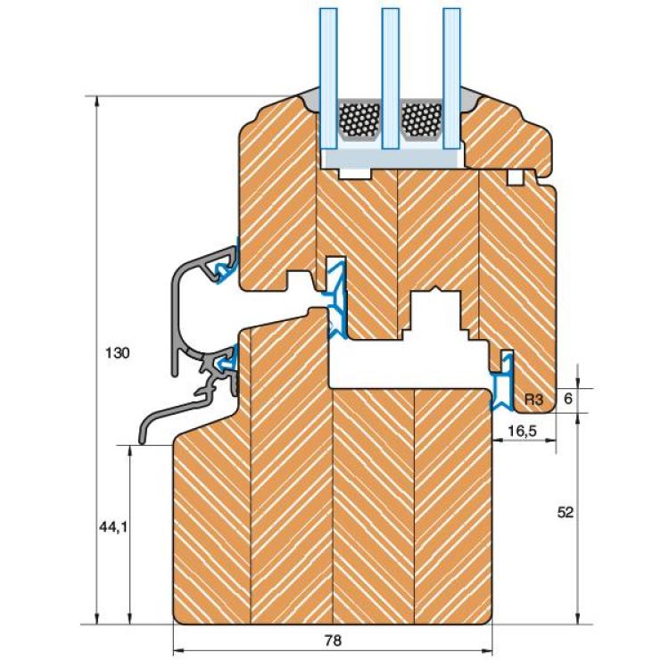 Section du profilé bois Rustique IV 78