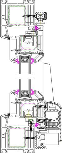 Fen tres pvc d tails coupe du ideal4000 sur fenetre24 for Porte fenetre oscillo coulissante