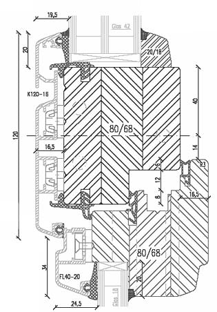 Croquis de la fen tre bois aluminium menuiserie mixte for Fenetre oscillo battant bois