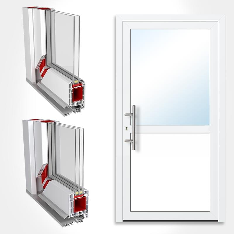 Porte de service isolante for Porte de service bois vitree