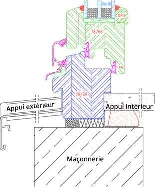 Fenêtre bois IV68 Application Croquis avec feuillure pour appui intérieur et xtérieur
