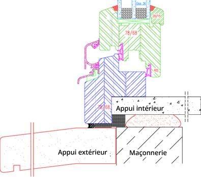 Fenêtre bois IV68 exemple de croquis - feuillure en rénovation 30
