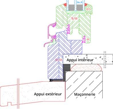 Fenêtre bois IV68 Exemple de feuillure rénovation 50