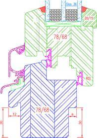 Fenêtre bois IV68 Feuillure pour appui de fenêtre : Intérieur: 30x8mm Extérieur: 30x12mm